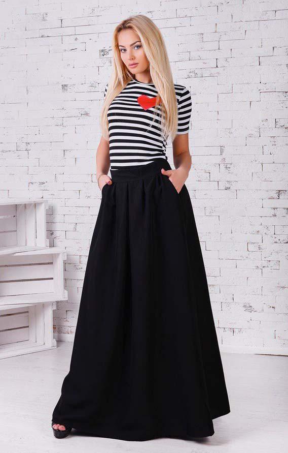 """Женская стильная длинная юбка 005 """"Габардин Макси Кармашки"""" в расцветках"""