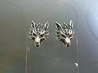 """Серебряные серьги """"Волки"""", фото 1"""
