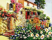 Картина для рисования камнями дом сад стразами Diamond painting Алмазная вышивка алмазами мозаика iLife