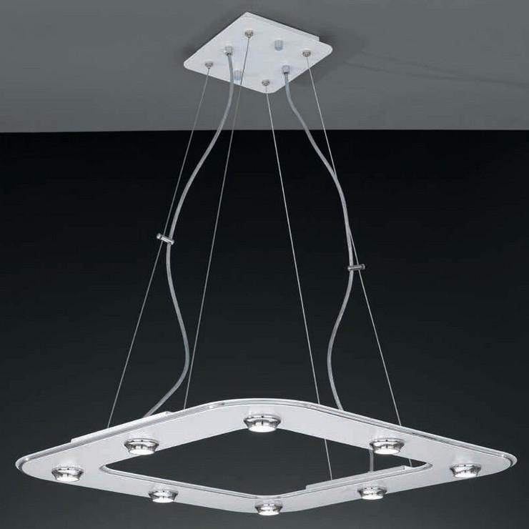 Люстра подвесная LA LAMPADA L 55/8.02 хром/белый