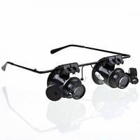 Бинокулярные очки, очки увеличительные с подсветкой, Glasses 9892A-II, очки часовщика и ювелира, очки для пайки