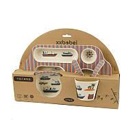 Детская посуда, бамбуковая посуда, посуда из бамбукового волокна, набор детской посуды, 5 предметов