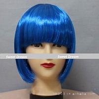 Новинка! Женский элегантный модный парик для вечеринок, стрижка каре боб, прямые волосы с челкой, цвет синий