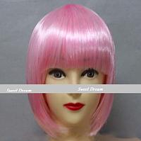 Новинка! Женский элегантный модный парик для вечеринок, стрижка каре боб, прямые волосы с челкой, цвет розовый