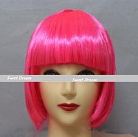 Новинка! Женский элегантный модный парик для вечеринок, стрижка каре боб, прямые волосы с челкой, ярко-розовый