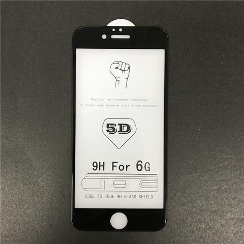 Скло захисне для телефону iPhone 6 5D чорне з повною проклейкою