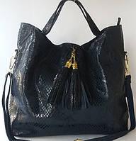 Красивая сумка из натуральной кожи синий питон