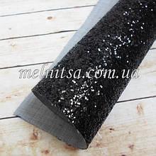 Крупный глиттер на тканевой основе, 35х20 см, цвет черный