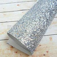 Крупный глиттер  на тканевой основе, 35х20 см, цвет серебро