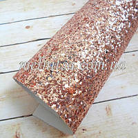 Крупный глиттер на тканевой основе, 35х20 см, цвет червоное золото