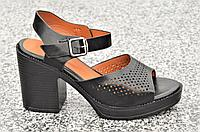 Босоножки женские на каблуке черные (код 3461) - босоніжки жіночі на каблуках чорні
