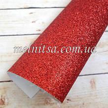Кожзам з дрібним глітером, на тканинній основі, 35х20 см, колір червоний