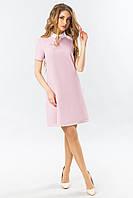 Платье с белым воротником розового цвета