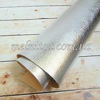 Кожзам на тканевой основе, 35х20 см, цвет серебро