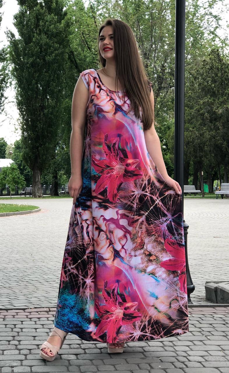 Длинное платье летнее без рукава для полных Мальва
