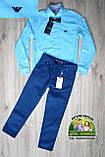 Нарядный костюм Armani для мальчика 1-4 года: голубая рубашка и синие или черные брюки, фото 2