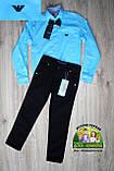 Нарядный костюм Armani для мальчика 1-4 года: голубая рубашка и синие или черные брюки, фото 3