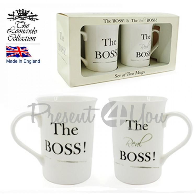 Набор кружек(4шт) из фарфора Англия «The Boss», 350 мл