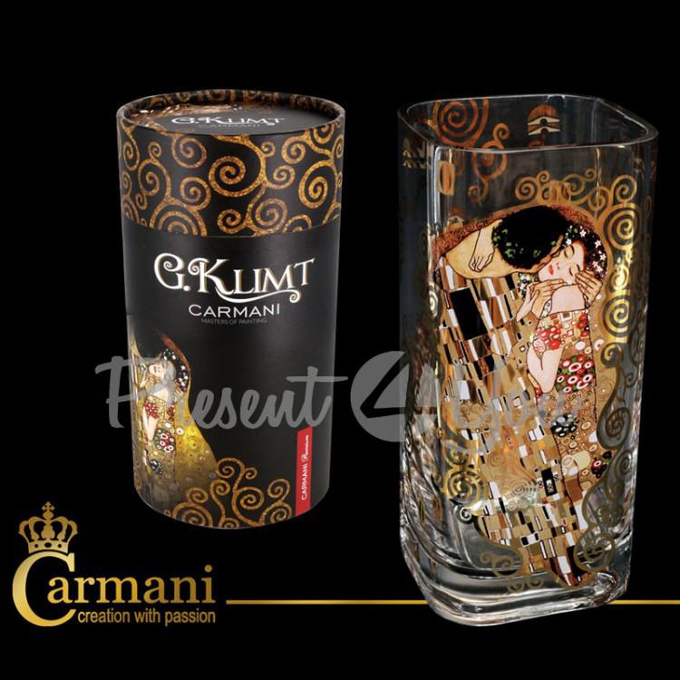 Ваза стеклянная Г. Климт «Поцелуй» Carmani, h-30 см