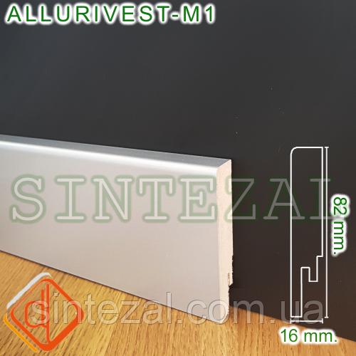 Прямоугольный МДФ-плинтус под металл, 82х16 мм.