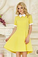 Летнее молодежное платье мини с белым воротником желтое