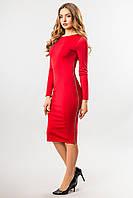 Вечернее красное платье миди по фигуре с боковой змейкой, длинный рукав