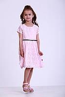 Детское гипюровое платье для девочек, р. 98, 104, 110, 116, 122, Розовое