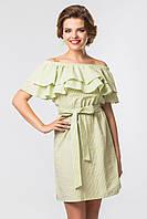 Модное зеленое короткое летнее платье в полоску