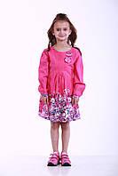 Детское платье для девочки  с цветочным принтом, 244POLINA р. 104, 128, Розовое