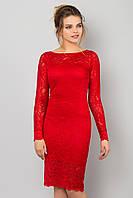 Вечернее облегающее гипюровое платье с длинным рукавом красное