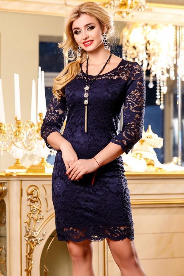 81d48fdcb49eb54 Темно-синее Кружевное Платье с Рукавом Д-1395 — в Категории