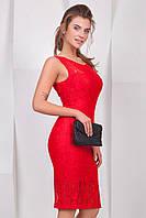 Красное вечернее гипюровое платье без рукавов