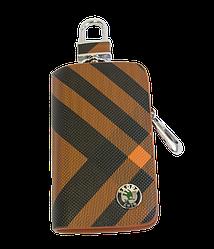 Ключница Carss с логотипом SKODA 22014 карбон коричневый
