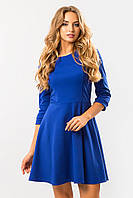 Синее платье с юбкой клеш