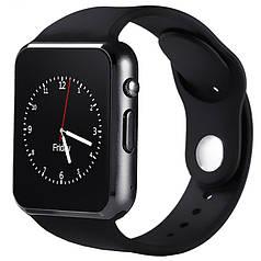"""✓Смарт-часы 1,5"""" UWatch A1 Черные 2.5D экран для тренировок пробежек и спортивных занятий"""