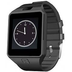 """➤Смарт-часы 1.5"""" UWatch DZ09 Черные 2.5D изогнутый экран SIM Телефон для пробежек и занятий спортом"""