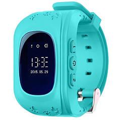 ✓Смарт-часы UWatch Q50 Голубые детские GPS SIM кнопка SOS Определение местоположения