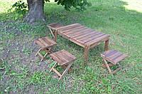 Раскладной стол + 4 стула из дерева для туризма, дачи, пикника, сада, природы