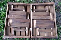 Компактний розкладний комплект із дерева стіл + 4 стільці для туризму,  пікників, саду, природи