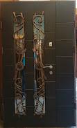 Входная дверь двух створчатая модель П5-500  vinorit-20 / 05 КОВКИ