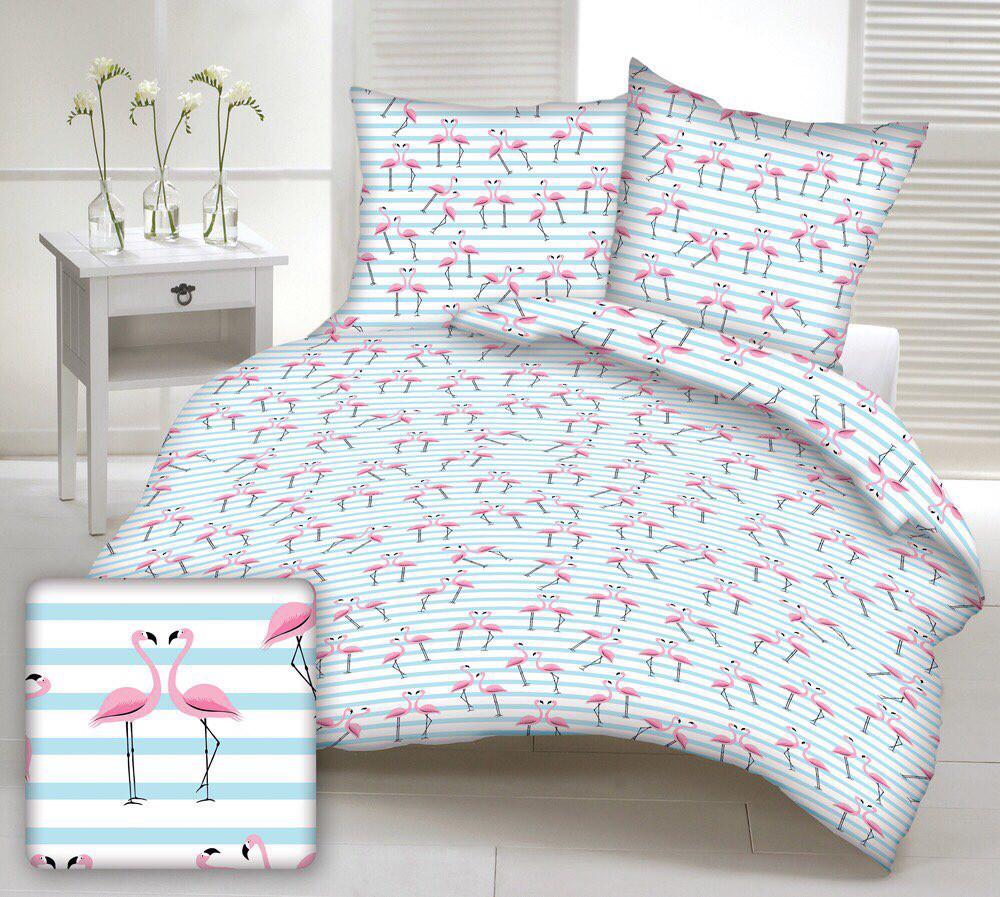 Хлопковая ткань польская фламинго розовые на голубой полоске
