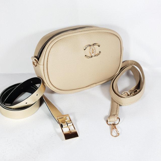 50b5b3222cd7ac Женская поясная сумка бананка Chanel Шанель ,бежевая: продажа, цена ...