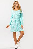 Льняное летнее платье короткое Горох на мятном