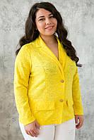 Желтый нарядный жакет больших размеров Дженни