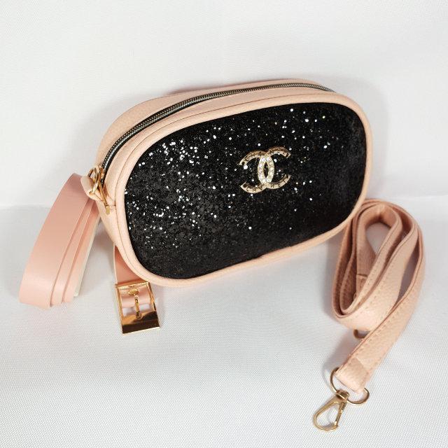 d0e29fc1248c Женская поясная сумка бананка Chanel Шанель пудра с блестяшками глиттером