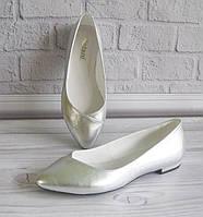 Кожаные балетки цвет серебро. Фабричная обувь., фото 1