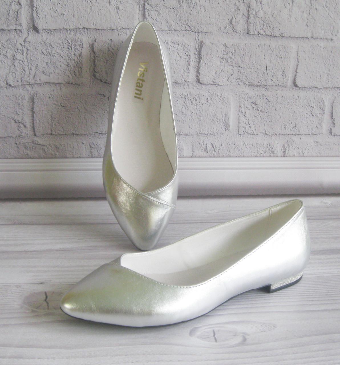 Кожаные балетки цвет серебро. Фабричная обувь. - Обувь
