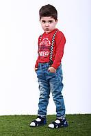 Джинсы для мальчика на подтяжках от 3 до 6 лет, р. 98, 110, 122, Светло-синий