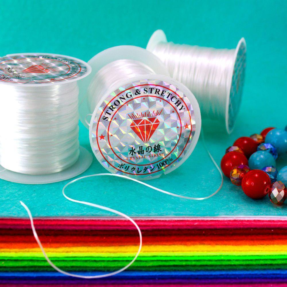 Нить слоеная силиконовая (плоская) для бижутерии 1мм, 10 метров (плоское сечение) Цвет - белый