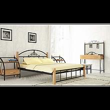 Металева ліжко Кассандра на дерев'яних ніжках